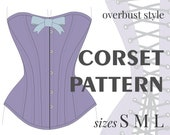 CORSET PATTERN Overbust Victorian Style. S M L sizes. Instant download pdf sewing pattern.