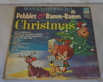 Vintage Children's Record Pebbles and Bamm-Bamm singing songs of Christmas Album HLP-2033