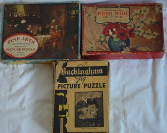 Vintage 1920s-1940s Jig Sierra colección Puzzle