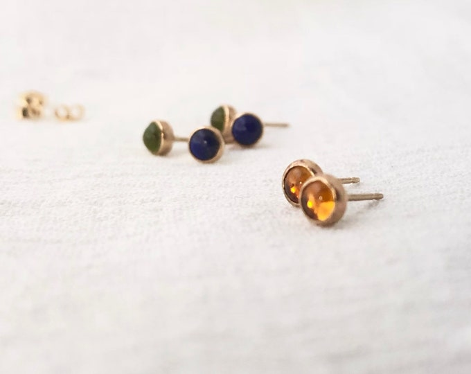 14k Gold + Gemstone Studs