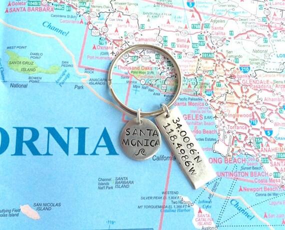 Santa Monica, CA Breitengrad Längengrad GPS Map Koordinaten Keychain