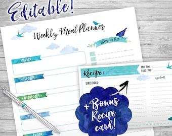 WEEKLY Meal Planner Printable, Editable, Week Organizer, INSTANT DOWNLOAD