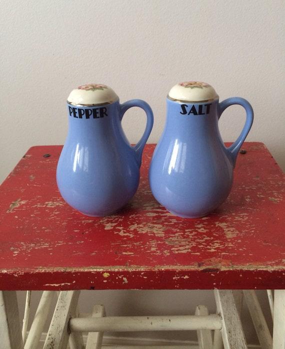 Blue Pink Floral USA Pottery Vintage Hall Rose Parade Salt /& Pepper Shakers