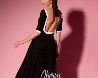 Black Maxi Dress/ Backless dress/ Long dress/ Elegant dress/ Plus size dress/ Summer dress/ Plus size clothing