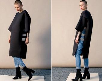 Black Neoprene Oversized Tunic, Futuristic and Extravagant clothing by CherryBlo