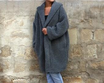 Oversized coat/ Wool Coat/ Grey coat/ Belted Coat/ Plus Size Coat/ Womens Coat/ Cardigan Coat