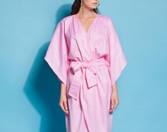Pink dress/ Cotton dress/ dress/ Cotton robe/ Cotton dressing gown/ Summer dress/ Long sleeve dress/ Dressing gown/ Elegant dress/ 105.319