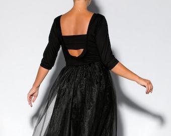 Women Black Dress, Elegant Dress, Maxi Dress, Black Long Dress, Formal Dress, Tulle Dress, Open Back Dress, Winter Dress, Plus Size Clothing