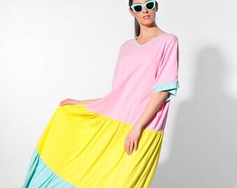 Cotton maxi dress/ Maxi dress / Boho maxi dress/ pink dress/plus size clothing/ Cotton dress/ Summer maxi dress/ Plus size dress/ 093.332