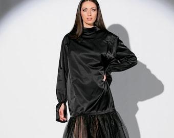 Samtkleid lang schwarz