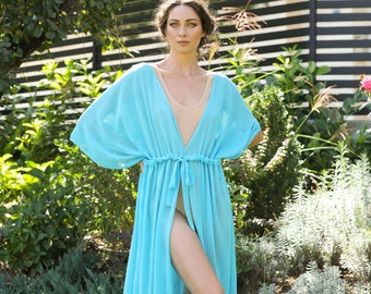 Beach cover up, Turquoise robe, kaftan, Blue dress, Cover up, Chiffon Dress, Beach dress, dress, Beach tunic, Cover up dress, 037.330