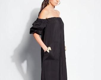 Black dress/ Summer dress/ Dress/ Dressing gown/ Dress women/ Midi dress/ Evening dress/ Evening gown/ Elegant dress/ Cocktail dress/135.278