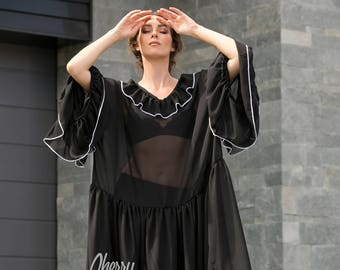 Black maxi dress/ Ruffle dress/ Chiffon Maxi dress / Elegant dress/ maxi dress/Long sleeve maxi/ Plus size dress/ Plus size clothing/112.196