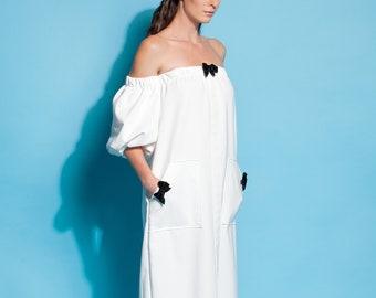 White dress/ Summer dress/ Dress/ Dressing gown/ Dress women/ Midi dress/ Evening dress/ Evening gown/ Elegant dress/ Cocktail dress/135.279