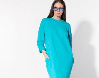 Turquoise dress/ Long Dress/ Casual dress/ Day dress/ Column dress/ Spring dress/ Summer Dress/ Plus size dress/ dress/ 016.331