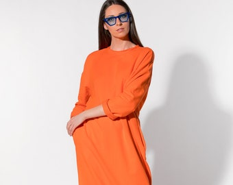 Orange dress/ Long Dress/ Casual dress/ Day dress/ Column dress/ Spring dress/ Summer Dress/ Plus size dress/ dress/ 016.333