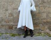 White Maxi Dress, Bell Sleeve Dress, Trendy Plus Size Dress, Cocktail Dress, New Year 39 s Dress, Elegant Dress, White Formal Dress, Asymmetric