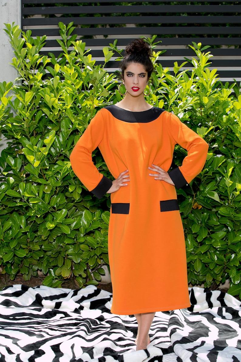 Oversized Dress Neoprene Dress Black Belt Dress Orange Dress Kimono Dress Plus Size Dress Japanese Clothing Midi Dress For Women