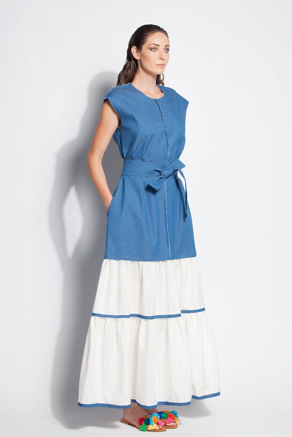 Denim Maxi Dress Boho Maxi Dress Boho Plus Size Dress Denim Etsy