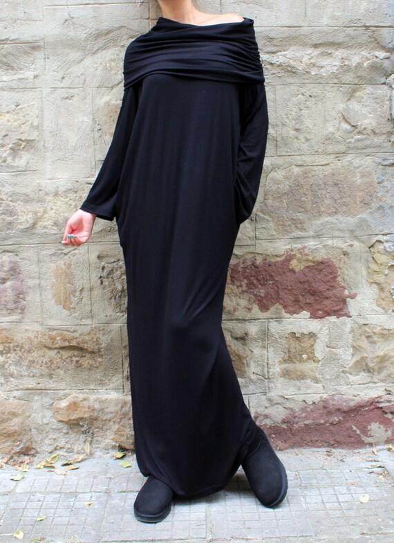 sleeve Casual dress Long dress dress dress Day dress dress Turtleneck dress dress Black Long Black dress Maxi Oversized Hooded gH1nazTq