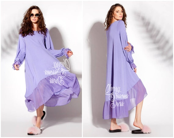 Purple High-Low Summer Maxi Dress / Plus size maternity maxi dress with  long sleeves