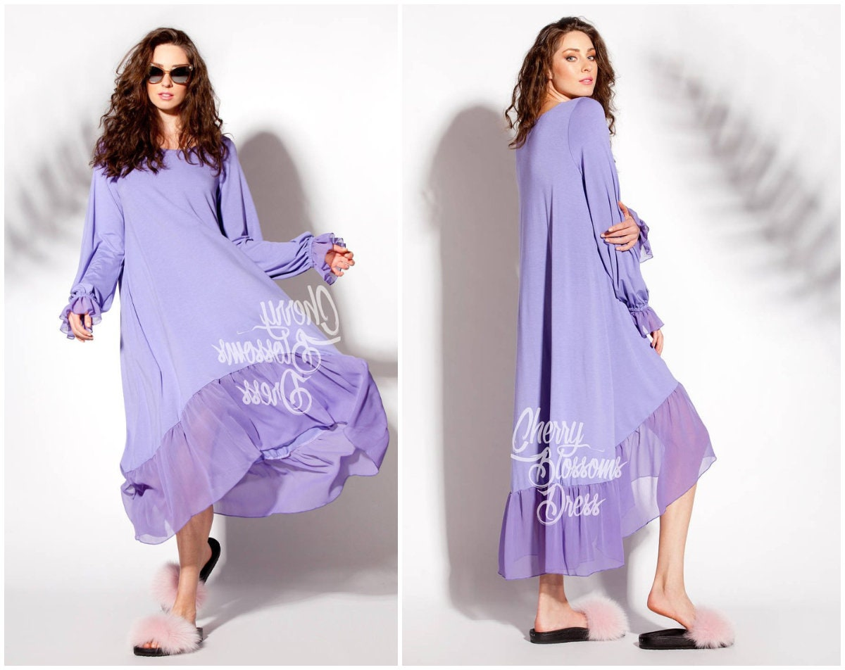 Purple High-Low Summer Maxi Dress / Plus size maternity maxi   Etsy