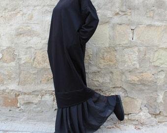 BLACK Maxi dress, Jumper dress, Plus size dress, Fall Winter dress, Oversized dress, Casual dress, Day dress, Midi dress
