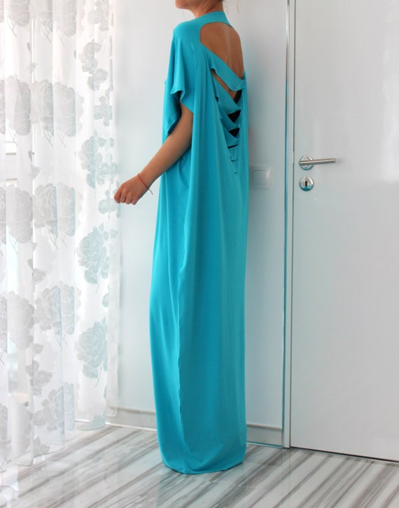 dress dress Woman Maxi dress Oversized dress Backless Maxi dress Turquoise Abaya Caftan Caftan zwqg7O