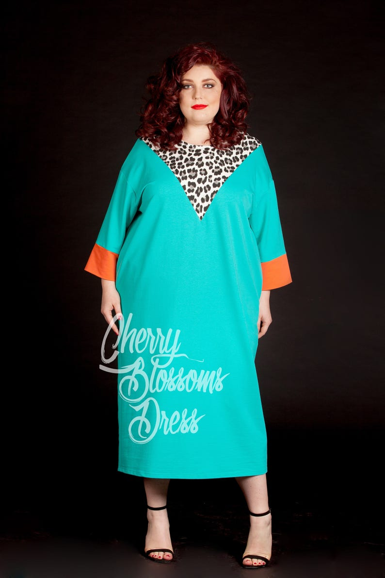 Mint dress/ Plus size maxi dress/ Plus size kaftan/ Plus size | Etsy