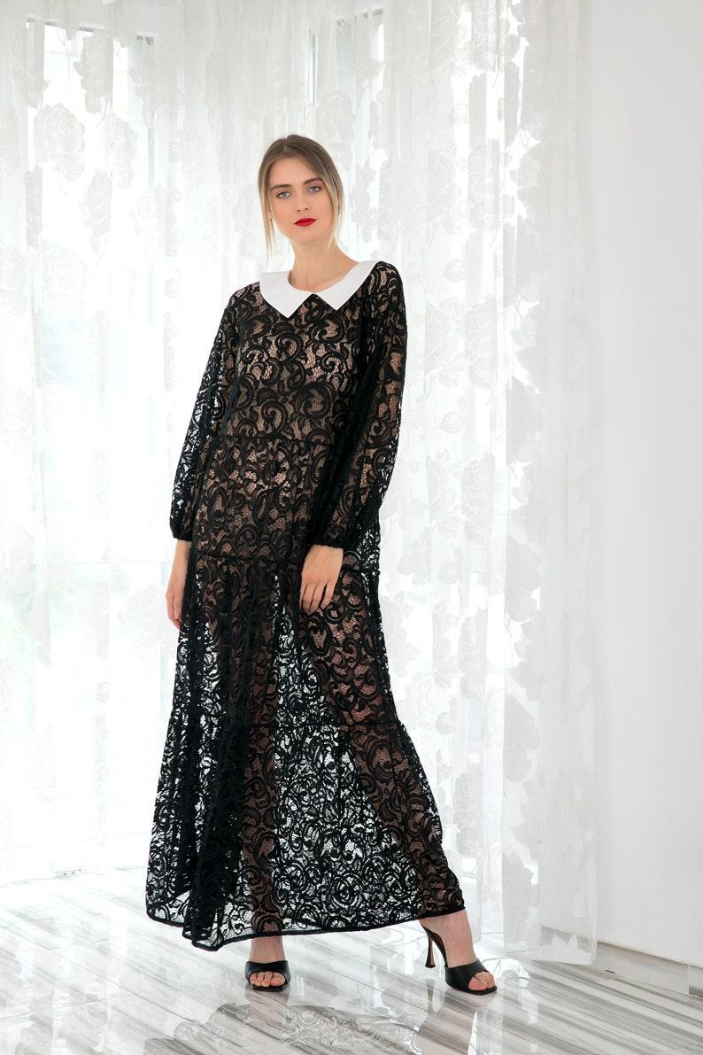 schwarze spitze kleid schwarze maxi-kleid elegantes kleid