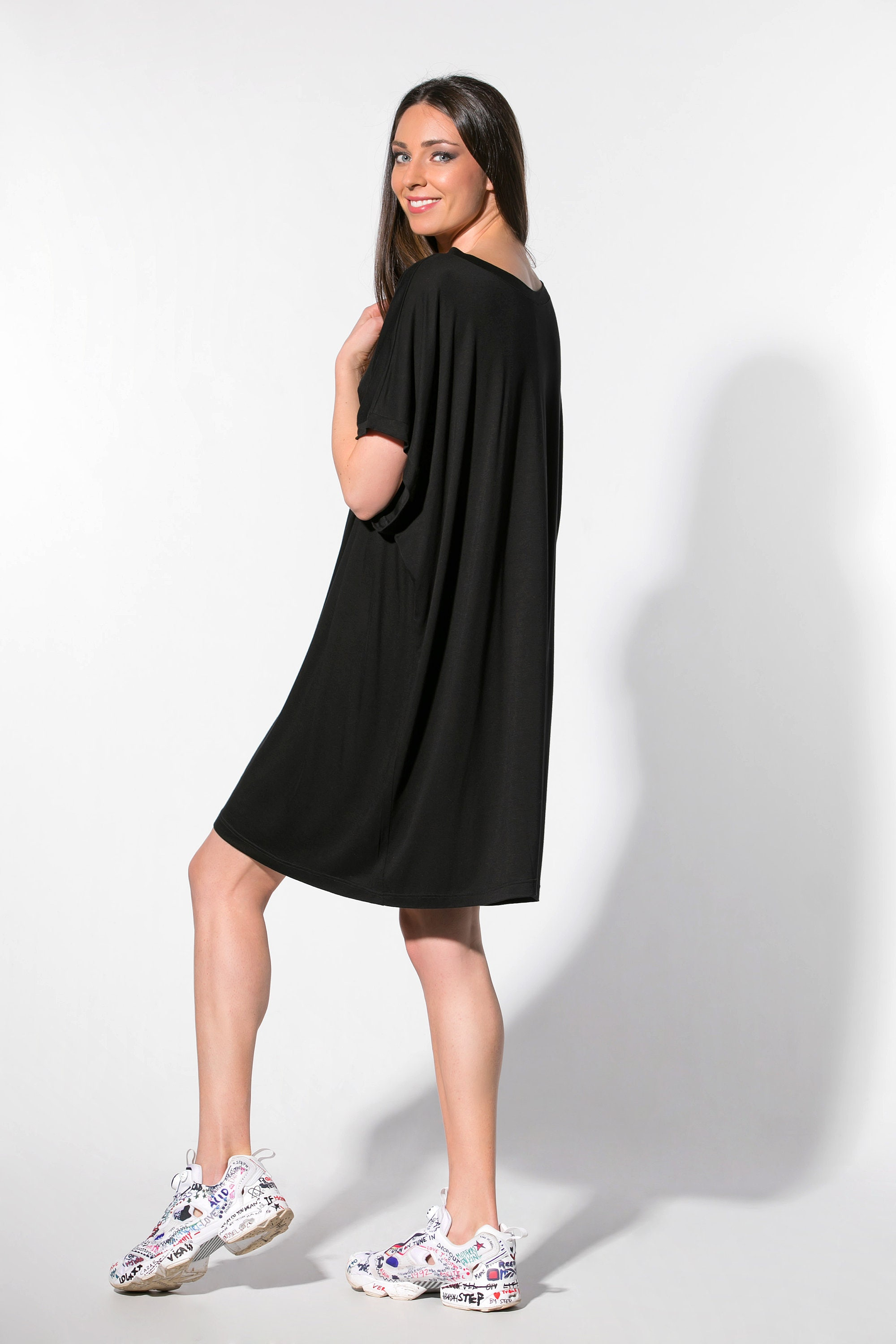 T Shirt Dress With Boat Neckline 109326 Etsy