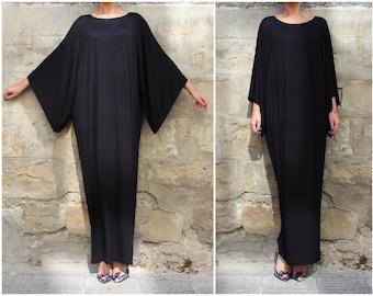 Black Kaftan Dress, Plus Size Clothing, Black Maxi Dress, Abaya Dress, Loose Dress, Gothic Dress, Formal Dress, Oversize Dress, Evening
