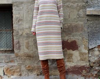 Beige Maxi dress, Fall Winter dress, Midi dress, Plus size dress, Oversized dress, Long sleeves dress, Day dress