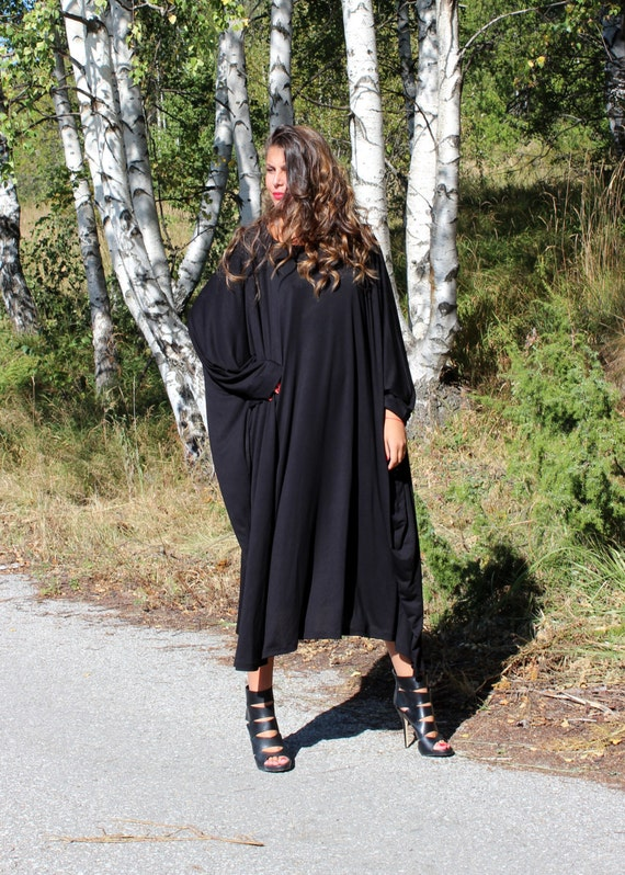 Caftan Plus clothing Plus dress Maxi Black Loose Abaya fitted Party dress size dress size Midi dress dress wqp8I