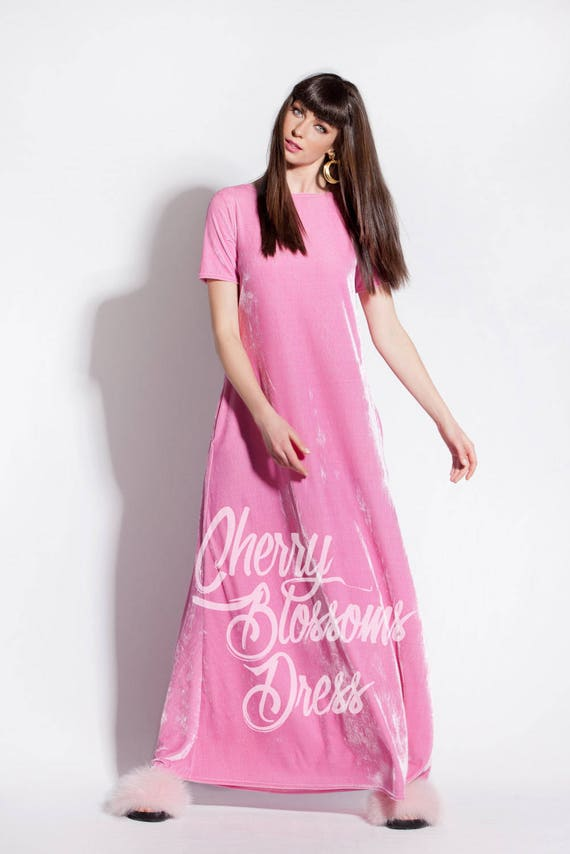 Velvet Plus for 309 dressing Plus dress gown women dress size Long Plus dress Summer dresses 012 Pink Dress Pink size size clothing qzB6wxxAS