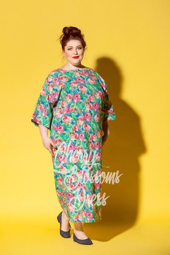 Floral Maxi Dress Plus Size Cotton Dress Plus Size Dress Etsy