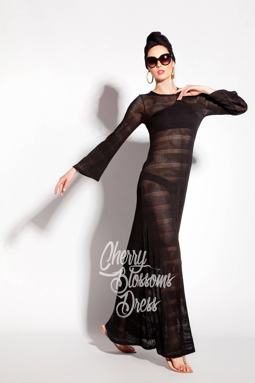 Strickkleid schwarz / schwarz Strand Cover up / schwarze Kleid