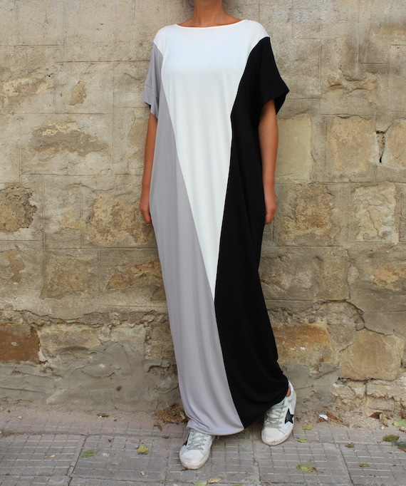 white Kaftan Plus size clothing dress Casual dress Long Plus dress size and Maxi black dress dress Black q6BZvR8