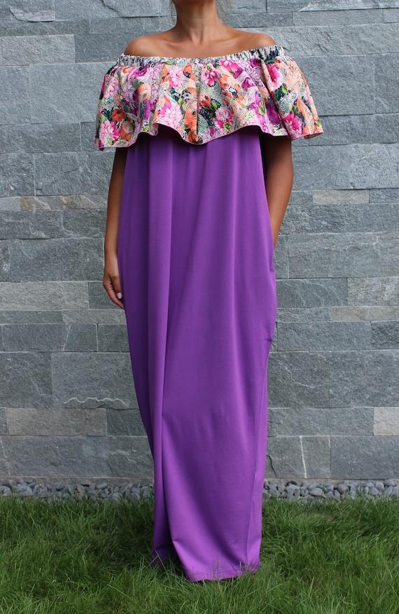 Dress Oversized shoulders dress Dress size cute Dress Summer dress Dress Dress Maxi Plus dress Ruffle Purple Caftan party Off dress 0wpRYR