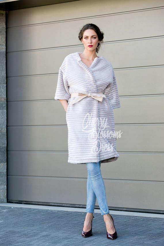 377f187335b Fur coat  Oversized Coat  trench coat  winter coat  collarless