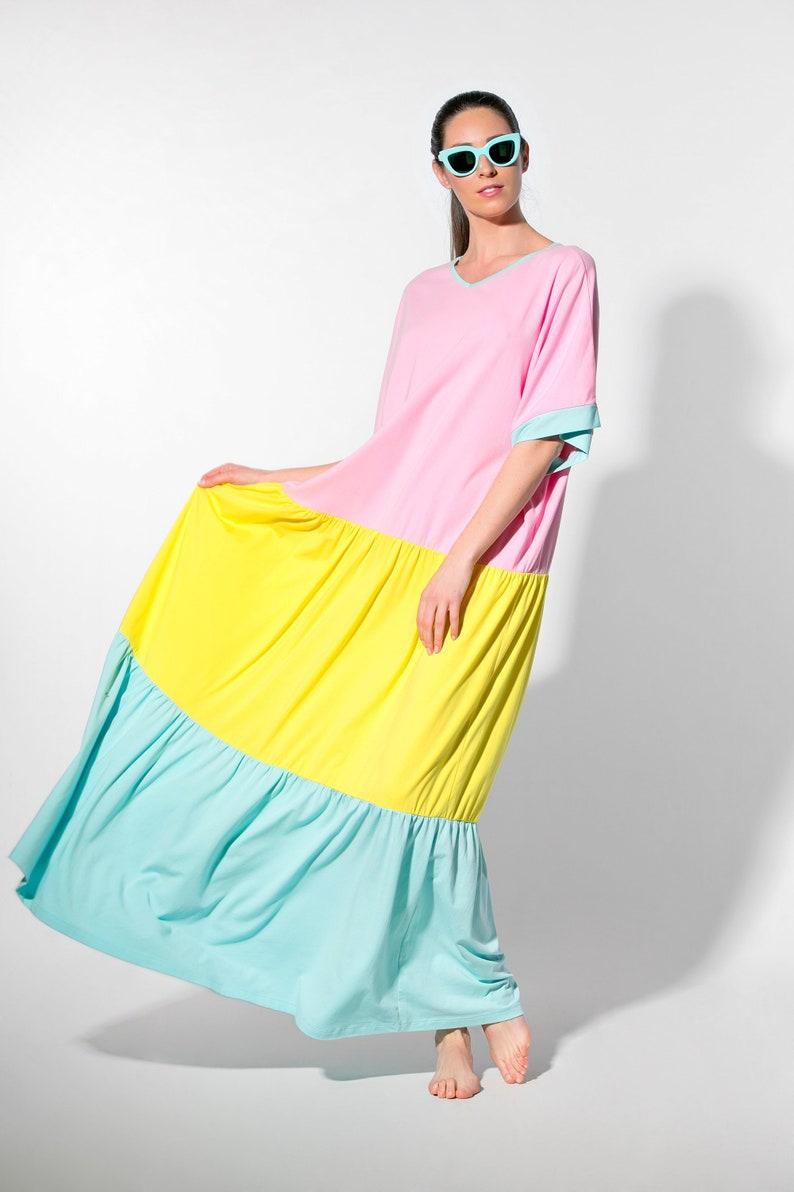 d26c339343c Rainbow Easter Summer Boho Maxi Dress in Pastel