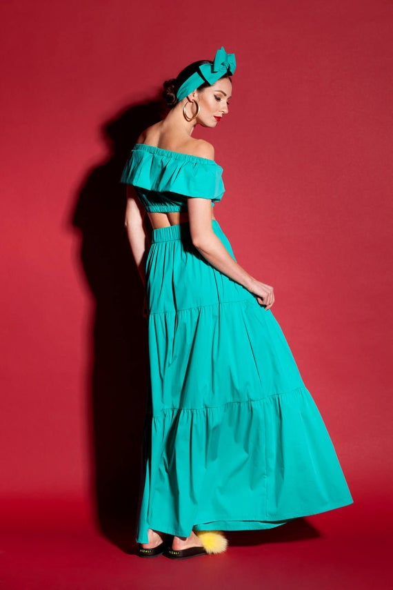 Green Maxi Green Top clothing Ruffle Boho Green Skirt Maxi Piece boho Spanish 2 Set skirt Skirt Skirt Maxi qIIfXw