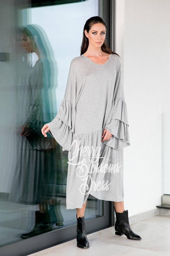Casual sleeve clothing Long dress size Maxi Grey dress Plus Ruffle Plus 112 maxi Summer dress 131 dress maxi size dress z0Tz1qxvw