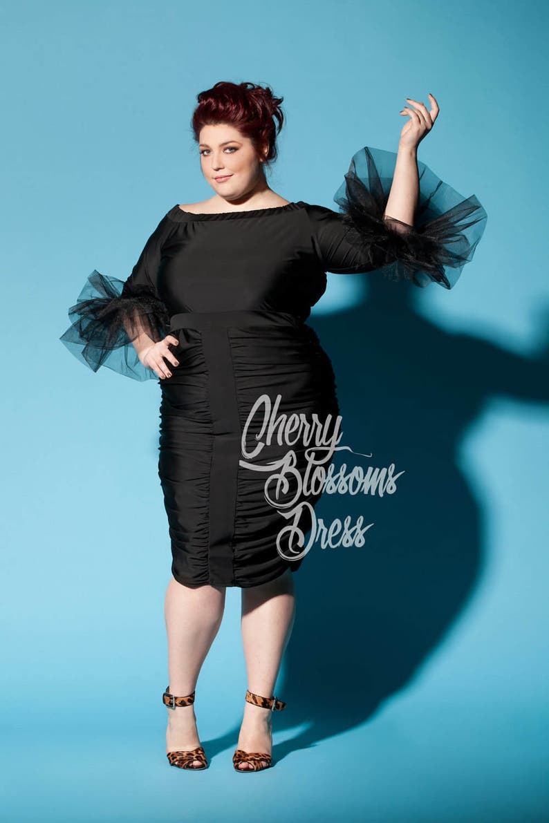 Little Black Plus Size Dress with Tulle Sleeves, 020.216