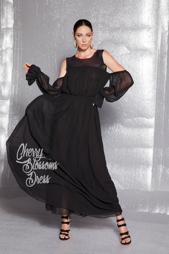 Black Maxi Dress/ Elegant dress for women/ Elegant dress long/   Etsy