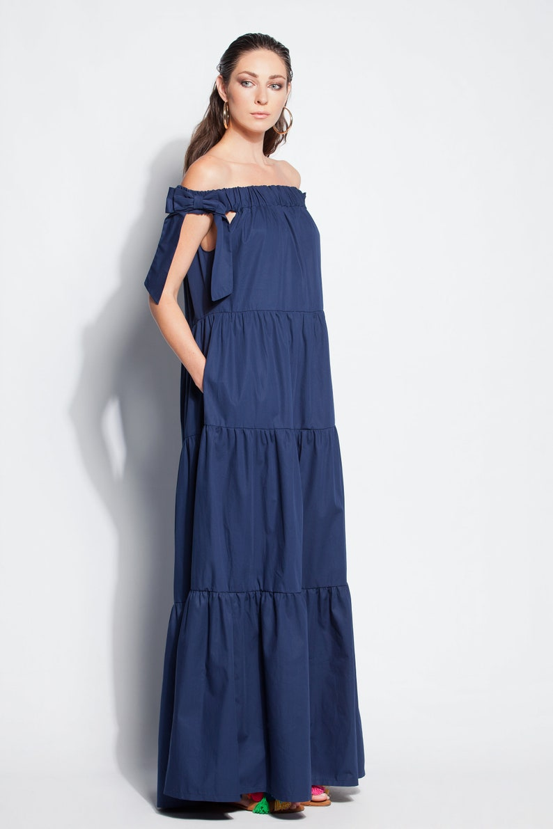 8be08264b57 Navy Blue Maxi dress  boho dress  Trendy Plus size clothing