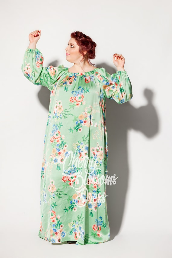 Maxi Maxi dress sleeve Long dress Boho size Long Day clothing Green sleeve dress dress dress Plus Plus Floral Plus dress dress size size fx0tU