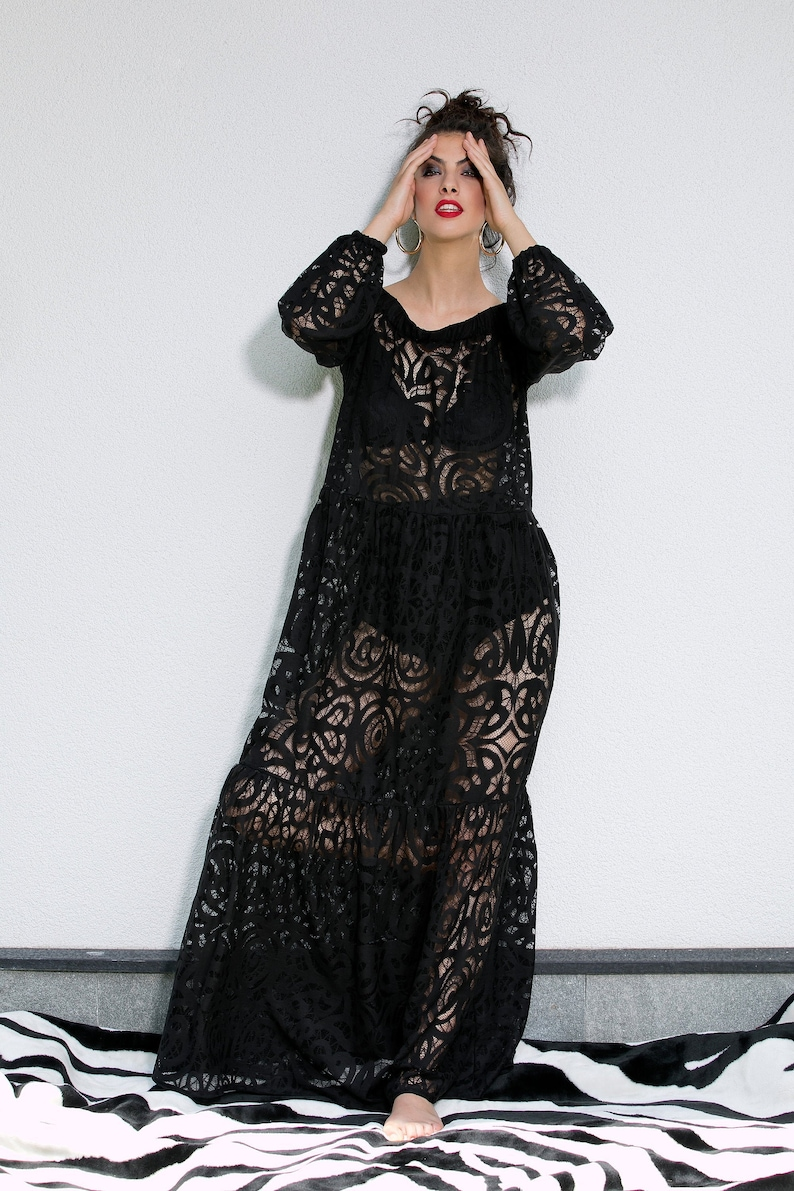 Black Maxi Dress, Black Lace Dress, Plus Size Clothing, Sheer Dress, Plus  Size Maxi Dress, See Through Dress, Loose Style,Dress With Sleeves