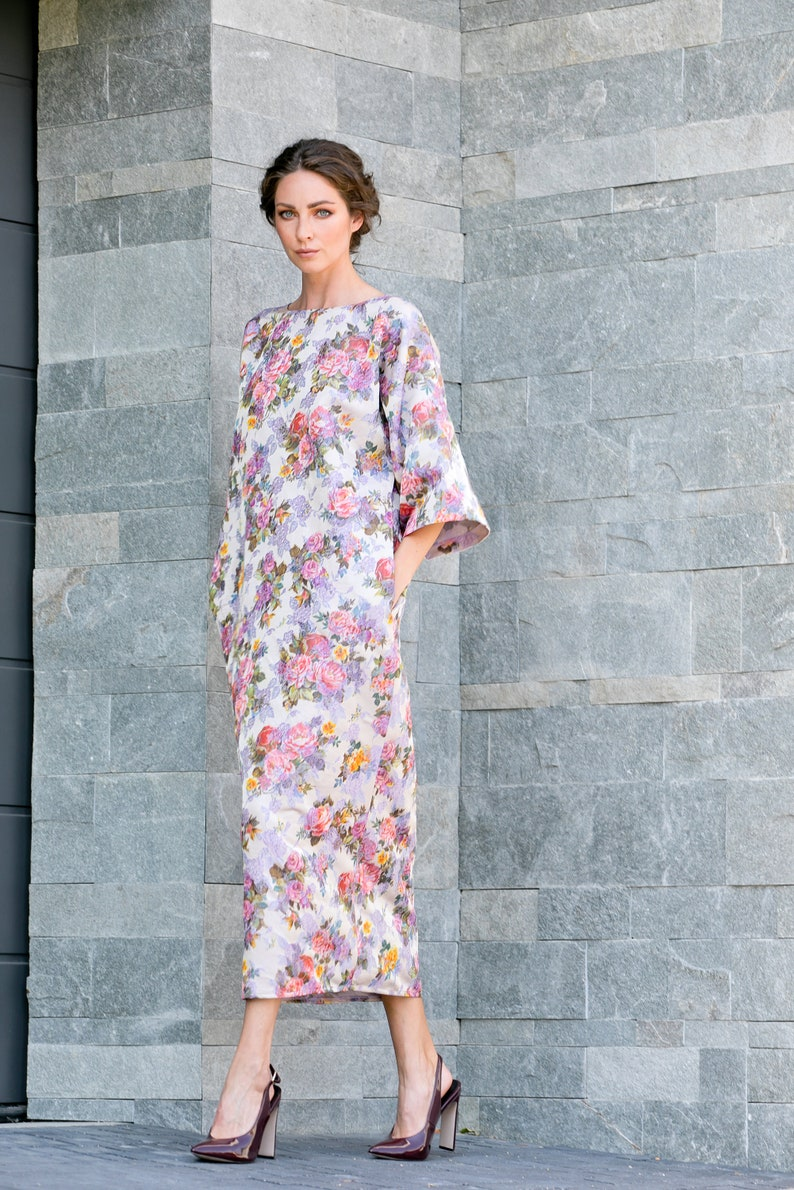 Organza Dress Wide Sleeve Dress Floral Shift Dress Plus Size Dress Summer Maxi Dress Loose Dress Floral Kimono Dress Kaftan Dress