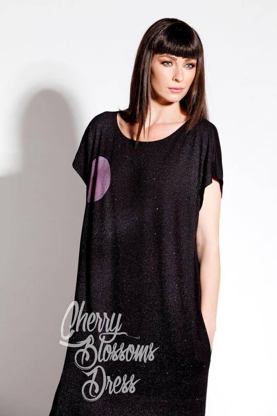 with pockets Caftan Kaftan Maxi Woman Dress Plus Long dress Dress size dress Black dress painted Hand dress fqwZEPfnU